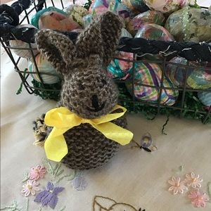 Very cute brown hand knit bunny.